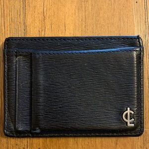 Coach leather textured card case wallet black